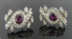 Ferro Jewelers - Estate Jewelry | 1930's Platinum Ruby and Diamond Stud Earrings