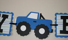 Blue monster truck Happy Birthday Banner by scraptags on Etsy, $21.99