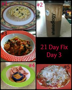 My meals on day 3 of the 21 Day Fix! Already feeling great and seeing results. And can I just say that lunch and dinner were AMAZING.