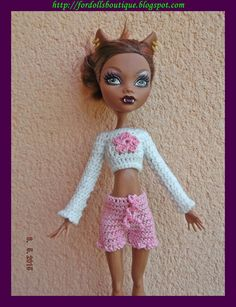 Ropa para Monster High: conjunto top y shorts de Fordollsboutique en Etsy
