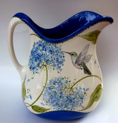 Hydrangea and Hummingbird Painted Pitcher on Etsy ♥ Pottery Painting, Ceramic Painting, Ceramic Art, Paint Your Own Pottery, Ceramic Pitcher, Blue Hydrangea, Hydrangeas, China Painting, Polish Pottery