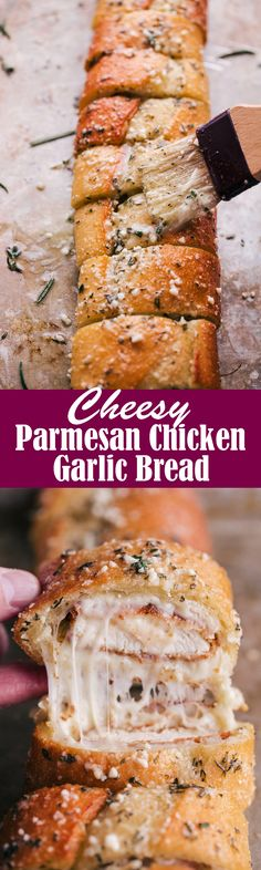 Cheesy Parmesan Chicken Garlic Bread is just about the greatest thing that has happened to bread ever. Bursting with rich buttery flavor and cheesy parmesan chicken you are missing out if you don't give this a try. I Love Food, Good Food, Yummy Food, Tasty, Awesome Food, Garlic Parmesan Chicken, Garlic Bread, Chicken Parmesan Sandwich, Snacks Für Party