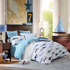 Navy Blue and White Marine Animal Sharks Print Abstract Design Cool Personalized Teen Boys Cotton Damask Full, Queen Size Bedding Sets Cheap Bed Sheets, Ocean Themed Bedroom, Matching Bedding And Curtains, Beautiful Bedrooms, Bed, Luxury Bedding, Boys Full Bed, Bedroom Sets, Bedding Sets