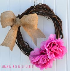 Pink Floral Wreath Burlap Wreath Vine by AmandaMichaeleCrafts