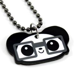 Diego the Nerdy Panda Necklace by panduhmonium on Etsy, $12.00