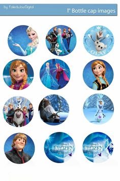 "More in my blog - Folie du Jour Bottle Cap Images: Frozen free digital bottle cap images 1"" 1 inch"