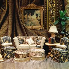 Les Chinoiserie ~ This wonderful site features 100% silks with a satin finish for upholstery, decoration and costumes for miniatures (1st of 3 pins)
