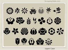 ScrappingTable.com provides free dingbats to provide you with a wide variety of shapes you can use with your Sure Cuts A Lot software program. Hungarian Embroidery, Folk Embroidery, Embroidery Patterns, Pattern Art, Pattern Design, Free Dingbats, Stencils, Tampons, Henna Art