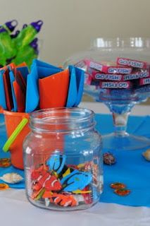 Leafy Tree Tops: Ocean themed birthday party Set up a thank you table, filled with water/ ocean themed gifts, each kid gets a pail and a shovel and get to fill their own goody pail with what they want.I'm sorta a genius! 4th Birthday Parties, Birthday Fun, Birthday Ideas, Monkey Birthday, Underwater Birthday, Octonauts Party, First Birthdays, Tree Tops, Ocean Party