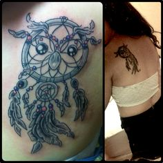 My first tattoo, love! Owl/ dream catcher