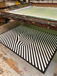 Striped Ball — Diatomic Studio Free Prints, Op Art, White Ink, Animal Print Rug, Screen Printing, Silk, Studio, Artwork, Color