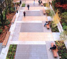 modern streetscape - paving, seating