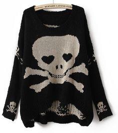 Oversized Skull Sweater (Black, White)