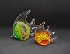 Glass Fish Paperweights, Glass Art Angel Fish Clear Glass, Glass Art, Glass Figurines, Angel Fish, Glass Photo, Glass Paperweights, Fish Art, Vintage Wood, Cool Art