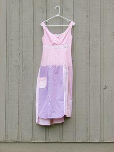 Women's XS/S  Upcucled Summer Dress in shades of pink and purples / Small/ Fun/ Funky/ OOAK/ Artsy/ upcycled mens shirt