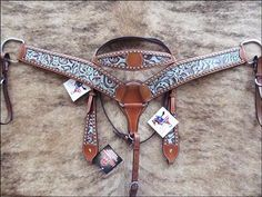 BHPA328-Hilason Western Tack Floral Turquoise & Brown Embossed Italian Leather Inlay Horse Headstall Breast Collar