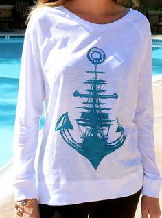 Printed anchor round collar shirt 9699337