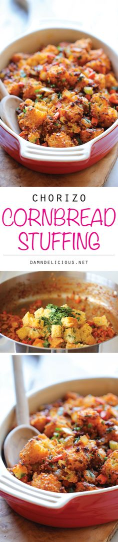 Chorizo Cornbread Stuffing - An easy, no-fuss, make-ahead crumbly stuffing with a kick of heat that the whole family will go crazy for!