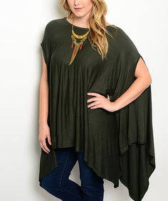 Love this Olive Cape-Sleeve Tunic - Plus on #zulily! #zulilyfinds