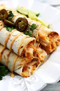 Slow Cooker Jalapeño Popper Chicken Taquitos - Creme De La Crumb