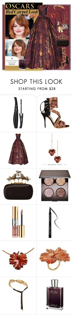 """""""Flaws are my favorite part of people, usually"""" by julyralewis ❤ liked on Polyvore featuring Lancôme, Sophia Webster, Zac Posen, Madina Visconti di Modrone, Alexander McQueen, Laura Mercier, Yves Saint Laurent, Giorgio Armani, Juliette Has A Gun and RedCarpet"""