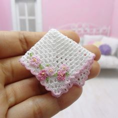 1:12 Dollhouse miniature baby crochet blanket with pink by MiniGio