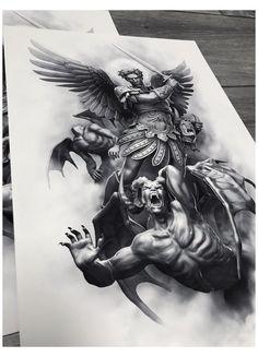 St. Michael Tattoo, Archangel Michael Tattoo, Tattoo Sleeve Designs, Tattoo Designs Men, Sleeve Tattoos, Angel Sleeve Tattoo, Religious Tattoo Sleeves, Religious Tattoos, Good And Evil Tattoos