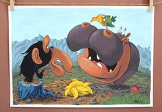Hippo and Chimp original painting by #TerrapinAndToad. This intriguing print will spark the imagination of little boys and girls. They'll spend hours making up stories to go along with it.