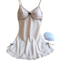 Pijamas camisón de satén de seda de las mujeres de moda de alta calidad arco decoración linda y dulce de la chica joven atractiva de dormir envío de la gota