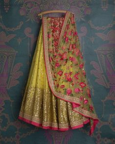VeroniQ Trends -Featuring Yellow,Red with embroidery work lehenga Blouse,choli in heavy tissue net,S