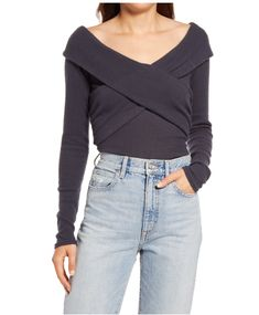 This off-the-shoulder top is a great fitted, and light sweater option for the early warmer months of fall. Tuck it into a pair of flare jeans and add some layered jewelry to complete the look. #fallfashion #falloutfits #fallsweaters #cutesweaters #southernliving Clothing Items, Off The Shoulder, Free People, Nordstrom, Turtle Neck, Neckline, Clothes For Women, Crossover, Long Sleeve