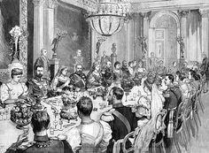 A meal in celebration of the marriage between Princess Victoria Melita of Edinburgh and Prince Ernst Ludwig, Grand Duke of Hesse. The wedding breakfast was held in the throne room of the castle of Ehrenberg, in Coburg. Princess Victoria Melita was daughter of Alfred, Duke of Edinburgh and a granddaughter of Queen Victoria as well as of Tsar Nicholas II of Russia. Her marriage to her paternal first cousin Ernst Ludwig, ended in divorce in 1901./yooniqimages.com