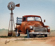 Country living and memories of an'old friend'. The reliable rusty truck. An original watercolor by artist James Williamson recreated as a Fine Art Print by Fine Art America. Farm Paintings, Country Paintings, Acrylic Paintings, Vintage Trucks, Old Trucks, Pickup Trucks, Vintage Clipart, Old Windmills, Fine Art Prints
