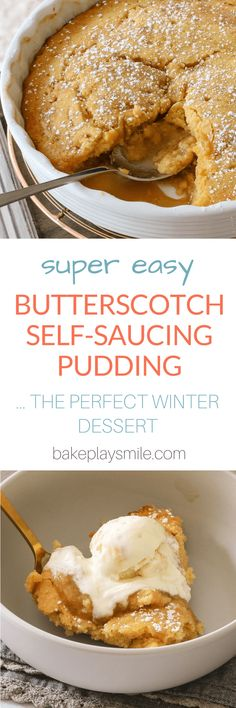 Easy Butterscotch Self Saucing Pudding The best BUTTERSCOTCH SELF SAUCING PUDDING ever! This really is the perfect winter dessert… it's quick, easy and tastes great! Plus it's budget-friendly. Talk about a winner with the whole family! Winter Desserts, Köstliche Desserts, Dessert Recipes, Recipes Dinner, Healthy Desserts, Healthy Recipes, Dessert Simple, Quick Dessert, Pudding Au Caramel