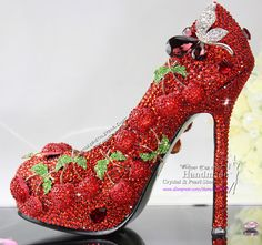 Handmade Red Shoes with Crystal Cherry from Reliable red wedding Shoes suppliers on Handmade Crystal  Pearl Wedding Shoes $289.30 (or other price)