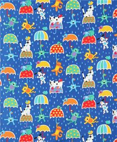 cats and dogs in the rain animal fabric Timeless Treasures USA