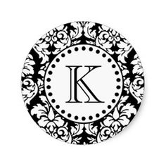 Black White Damask Pattern Monogram Stickers / Sticker Sheet.  Classic, elegant black and white floral damask pattern with a monogram initial letter template. These custom monogrammed stickers make trendy envelope seals for wedding invitations and personalized stationary.