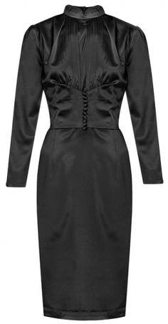 1930's Wallis Simpson Inspired Black Satin Pencil Evening Dress UK 8 - 22 #onlineshopping #plussize #vintage #fashion