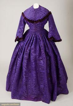 PURPLE SILK CIVIL WAR DRESS, 1862-1865