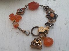 BEAUTIFUL AGATES Watch Fob vintage antique by PennysCastle