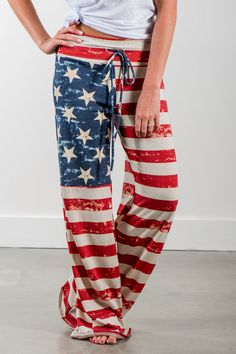 RubyClaire Boutique - Old Glory Wide Leg Loungers, $32.00 (https://www.rubyclaireboutique.com/old-glory-wide-leg-loungers/)