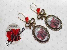 """Grandes boucles d'oreille dormeuses vintage """"le corset rouge"""" : Boucles d'oreille par miss-coopecoll"""