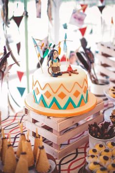 Indian Princess themed birthday party via Kara's Party Ideas KarasPartyIdeas.com Cake, decor, bunting, banners, printables, desserts, tutorials, games, and more! #indian #aztec #indianprincess #littleindian #powwow #indianparty (8)