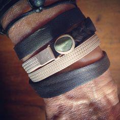 Silver herringbone beach stone and leather