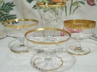 Vintage champagne sherbet wine gold rim goblets / glasses mixed