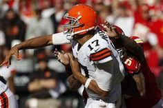 Cleveland Browns quarterback Jason Campbell (17) passes under pressure by the Kansas City Chiefs defense.