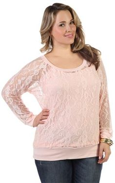 plus size long sleeve lace top... in white.