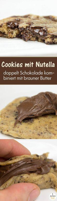 schokoladige American Cookies mit brauner Butter und Nutella-Füllung
