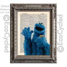 Cookie Monster on Vintage Upcycled Dictionary Art Print Book Art Print Recycled Repurposed Sesame Street - C is for Cookie by EcoCycled on Etsy https://www.etsy.com/listing/193537676/cookie-monster-on-vintage-upcycled