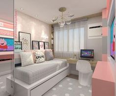Down-to-earth teen girl bedrooms transformation for that cozy teen girl room display, pin number 4446606153 Dream Rooms, Dream Bedroom, Room Interior, Interior Design, Kids Bedroom Designs, Teen Girl Bedrooms, Home And Deco, New Room, House Rooms
